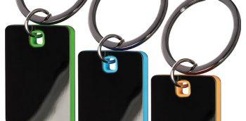sleutelhanger graveren groen, blauw of oranje als relatiegeschenk
